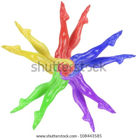 Womens legs in a fan all different colors. - stock photo