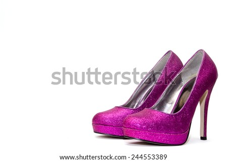 Womens pink sparkly high heels isolated on white backgroun - stock photo