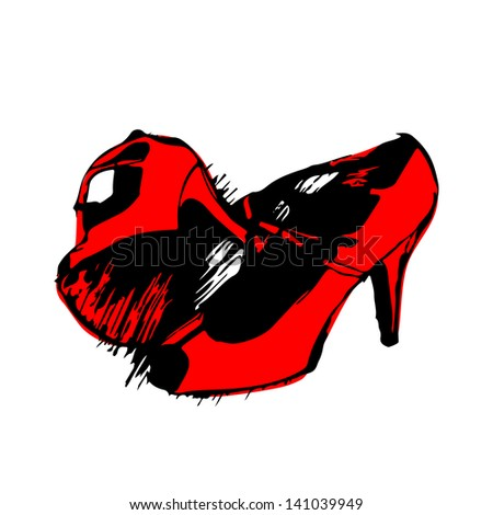 Womens red fancy shoes hand drawn sketch on white background. Raster version, editable vector file also available at my port. - stock photo