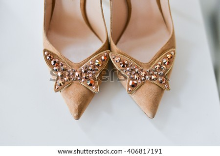 womens shoes closeup  on white background high heels isolated - stock photo