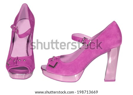 womens shoes high heel pink isolated white background