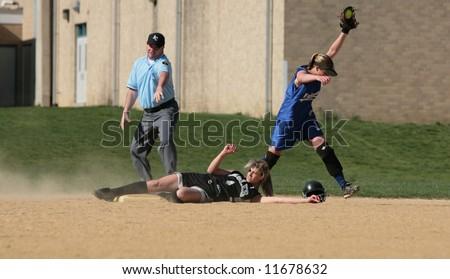 womens softball game - stock photo