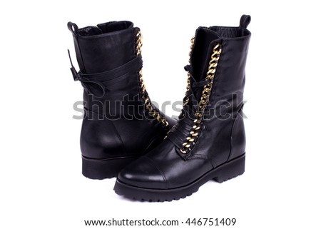 Womens suede fashion boots isolated on white. Shot in studio on a white background. - stock photo