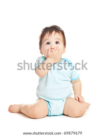 wonder asian baby boy on a white background