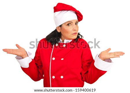 Wonder chef woman gesturing isolated on white background - stock photo