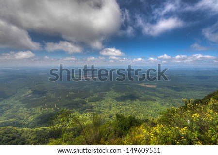 Wonder View, Mpumalanga, South Africa. At an altitude of 1,730 m this is the highest viewpoint in the area showing a sweeping view of the Lowveld of Mpumalanga - stock photo