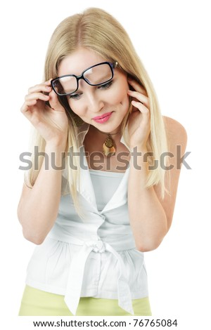Wondered young woman looking down isolated over white background - stock photo