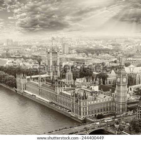 Wonderful aerial view of Big Ben and Houses of Parliament in Westminster - London - UK. - stock photo