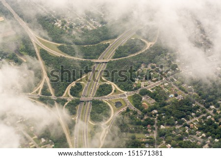 Wonderful aerial view of Interstates near New York City - USA. - stock photo