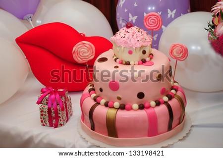 Wonderful birthday cake - stock photo