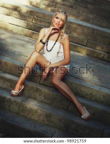 Wonderful blond women-outside - stock photo
