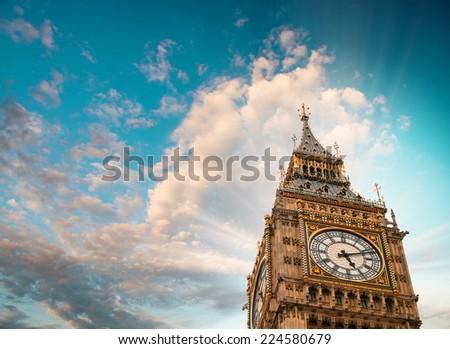 Wonderful blue sky over Big Ben in London. - stock photo