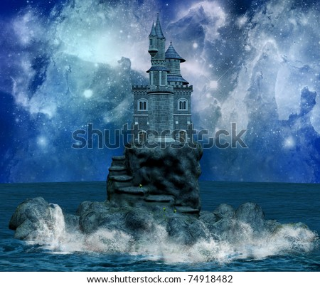 wonderful castle on an island and milky way - stock photo