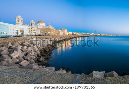 Wonderful cathedral of neoclassical style of ancient city of Cadiz - stock photo
