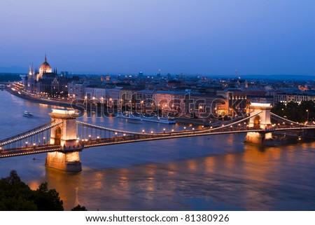Wonderful city of Budapest picture, bird's-eye tonight. - stock photo