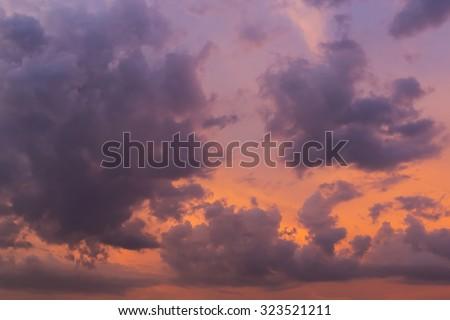 wonderful cloud on twilight sunset sky background - stock photo