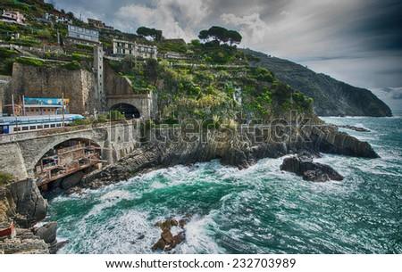 Wonderful colors of Cinqueterre Coast, Riomaggiore - Italy. - stock photo