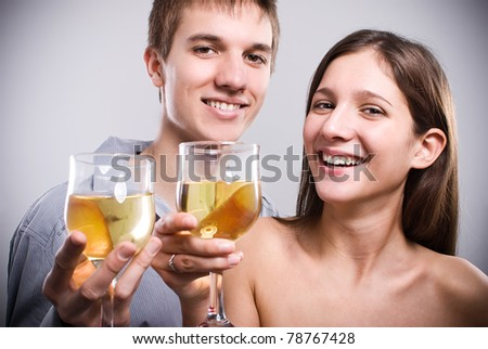 Wonderful couple smiling at camera