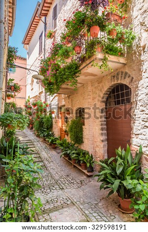 Wonderful decorated porch in small town in Italy, Umbria - stock photo