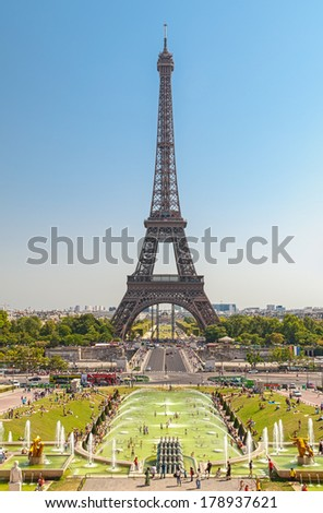 Wonderful Eiffel Tower and fountains of Trocadero with blue sky in Paris France - stock photo