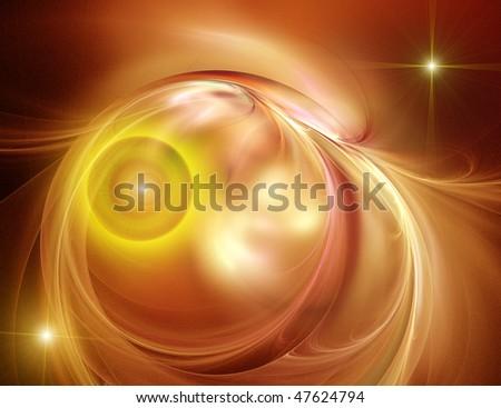 Wonderful gold fractal background - stock photo