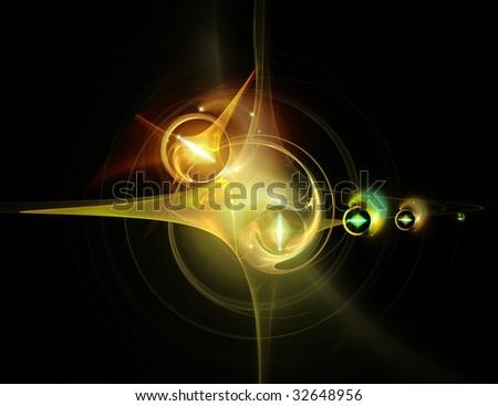 Wonderful Green-gold fractal - stock photo