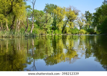 Wonderful green spring trees near by calm april river in Slovakia, wonderful vivid ecological wallpaper - stock photo