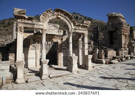 Wonderful Hadrian Temple. In the ancient city of Ephesus, Turkey. - stock photo