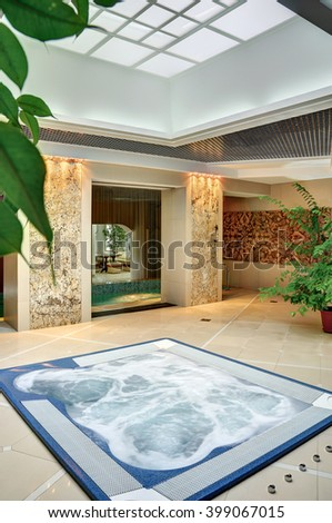 Wonderful holiday in the spa complex. Relaxation, peace and tranquility. Series of images of different rooms. - stock photo
