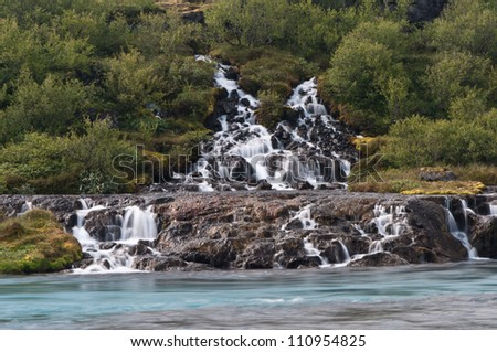 wonderful Hraunfossar  waterfalls in iceland - stock photo