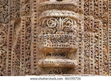 Wonderful intricate carvings at Sun Temple  Konark - stock photo