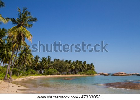 Wonderful lagoon on a tropical beach on an island in the Indian Ocean