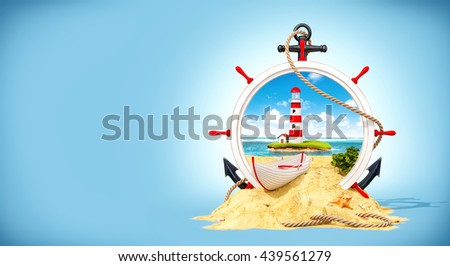 Wonderful landscape with light house on the island in wooden helm. Unusual creative 3D illustration. Advertising travel illustration. Travel concept illustration