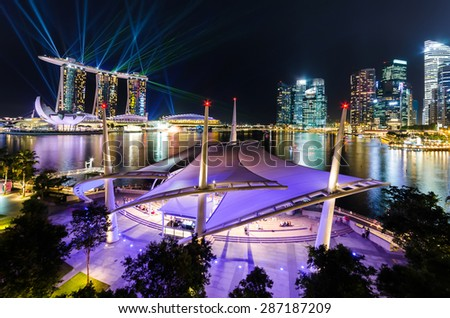 Wonderful laser show, the largest light and water spectacle in Southeast Asia, Marina bay point of view, Singapore - stock photo