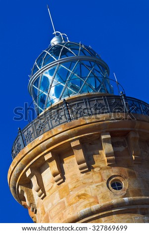 Wonderful lighthouse known as  lighthouse of Chipiona at the province of Cadiz - stock photo