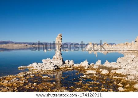 Wonderful limestone tufa towers in Mono Lake South Tufa area - stock photo