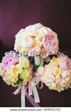 Wonderful luxury wedding bouquet of different flowers - stock photo
