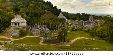 wonderful maya ruins Palenque, Mexico - stock photo