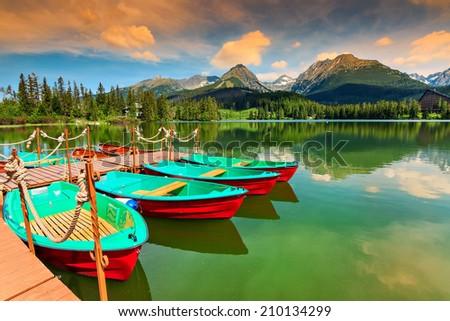 Wonderful mountain lake in National Park High Tatra,Strbske Pleso,Slovakia - stock photo