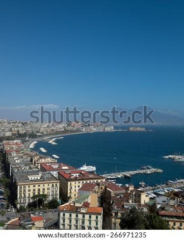 wonderful Naples panoramic view with Vesuvius and gulf from Posillipo - stock photo