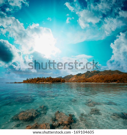Wonderful nature of Polynesian Islands. - stock photo