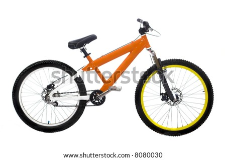 Wonderful new orange bike on white background