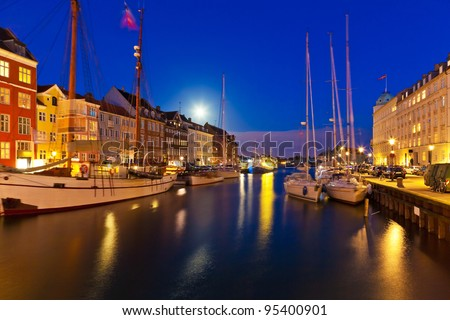 Wonderful night scenery of Nyhavn in Copenhagen, Denmark - stock photo