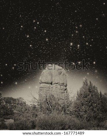 Wonderful night view of Arches National Park, Utah. - stock photo