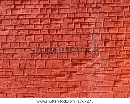 Wonderful ochre-coloured bricks at the Red Fort in Delhi, India - stock photo
