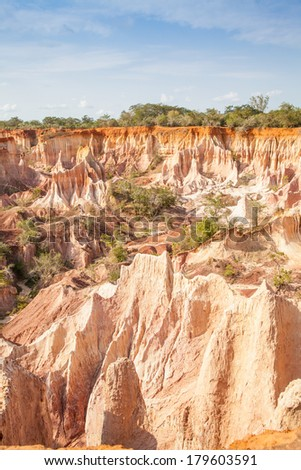 Wonderful orange colors at sunset in Marafa Canyon - also said The Hell's Kitchen. Malindi region, Kenya - stock photo
