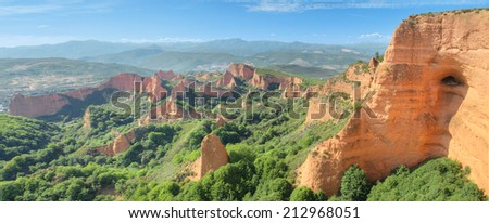 Wonderful panorama landscape of Las Medulas, ancient roman mines in Leon, Spain. - stock photo