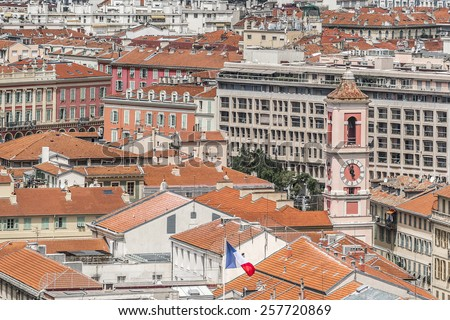 Wonderful panoramic view of Nice with colorful houses from Cimiez hill. Nice - luxury resort of Cote d'Azur, France. - stock photo