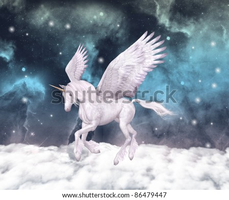 Wonderful pegasus gallops over the clouds - stock photo