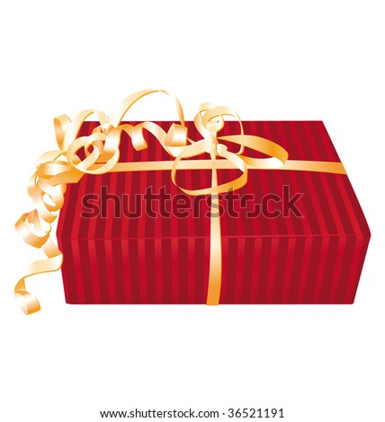 Wonderful red gift with golden roll ribbon bow.